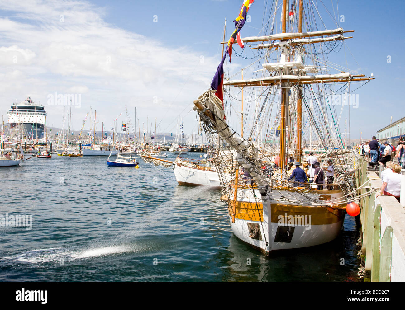 Busy harbour scene during the 2009 Australian Wooden Boat Festival. Hobart Tasmania Australia - Stock Image