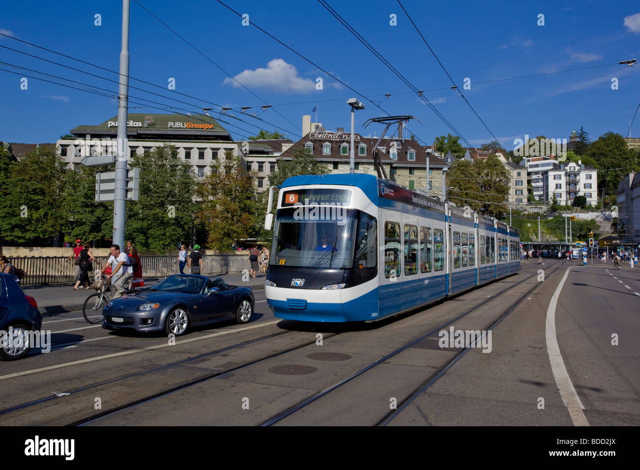 Modern Zurich Tram on the street, Switzerland - Stock Image