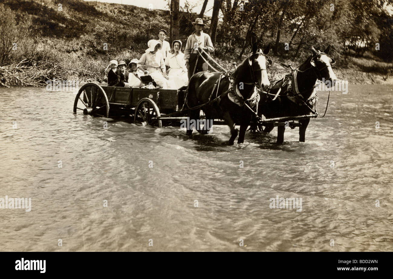 Family in Horse Drawn Wagon Fording River - Stock Image
