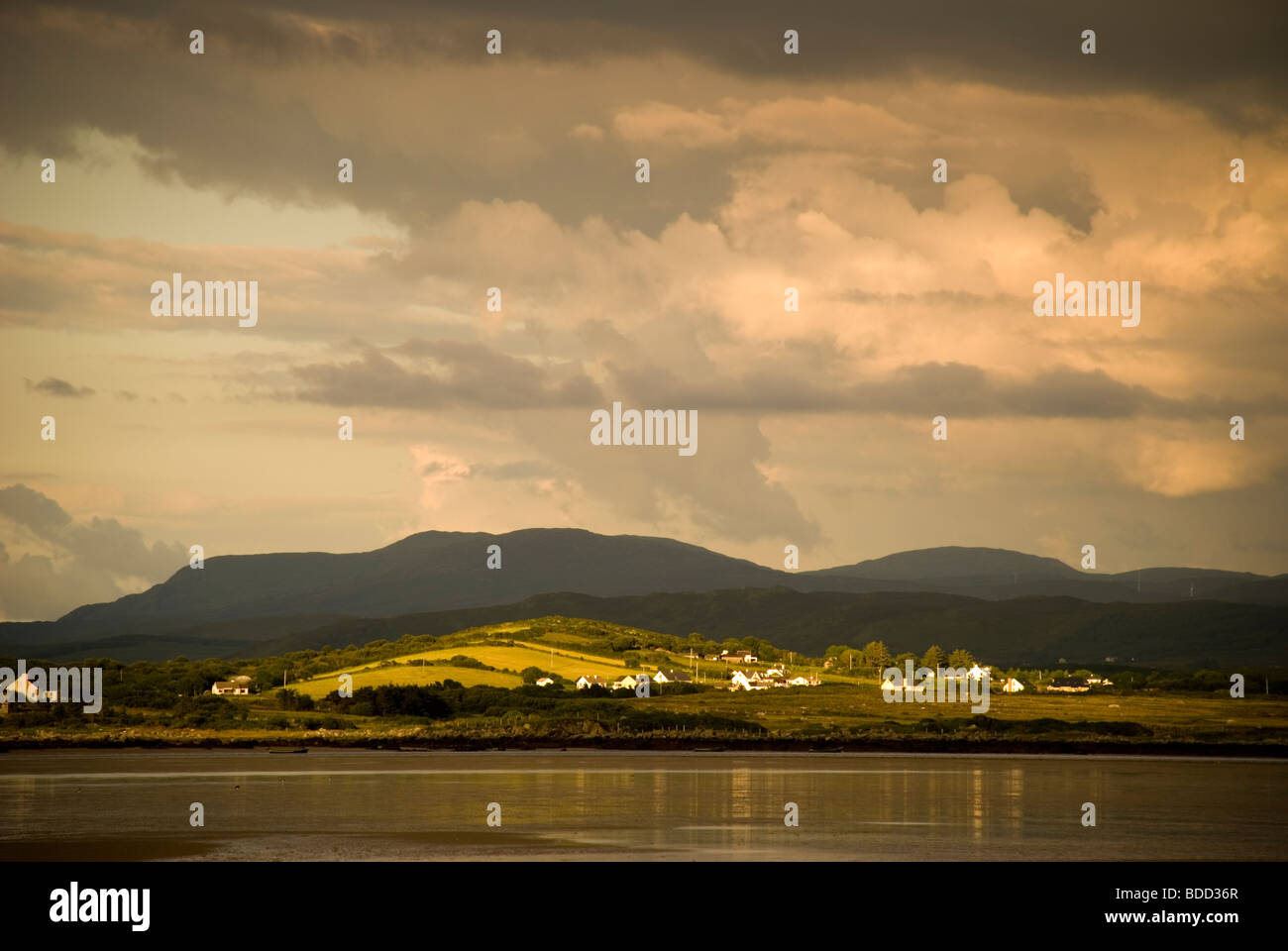 Ardara County Donegal Ireland Evening light breaks through cloud on the west coast of Ireland Stock Photo