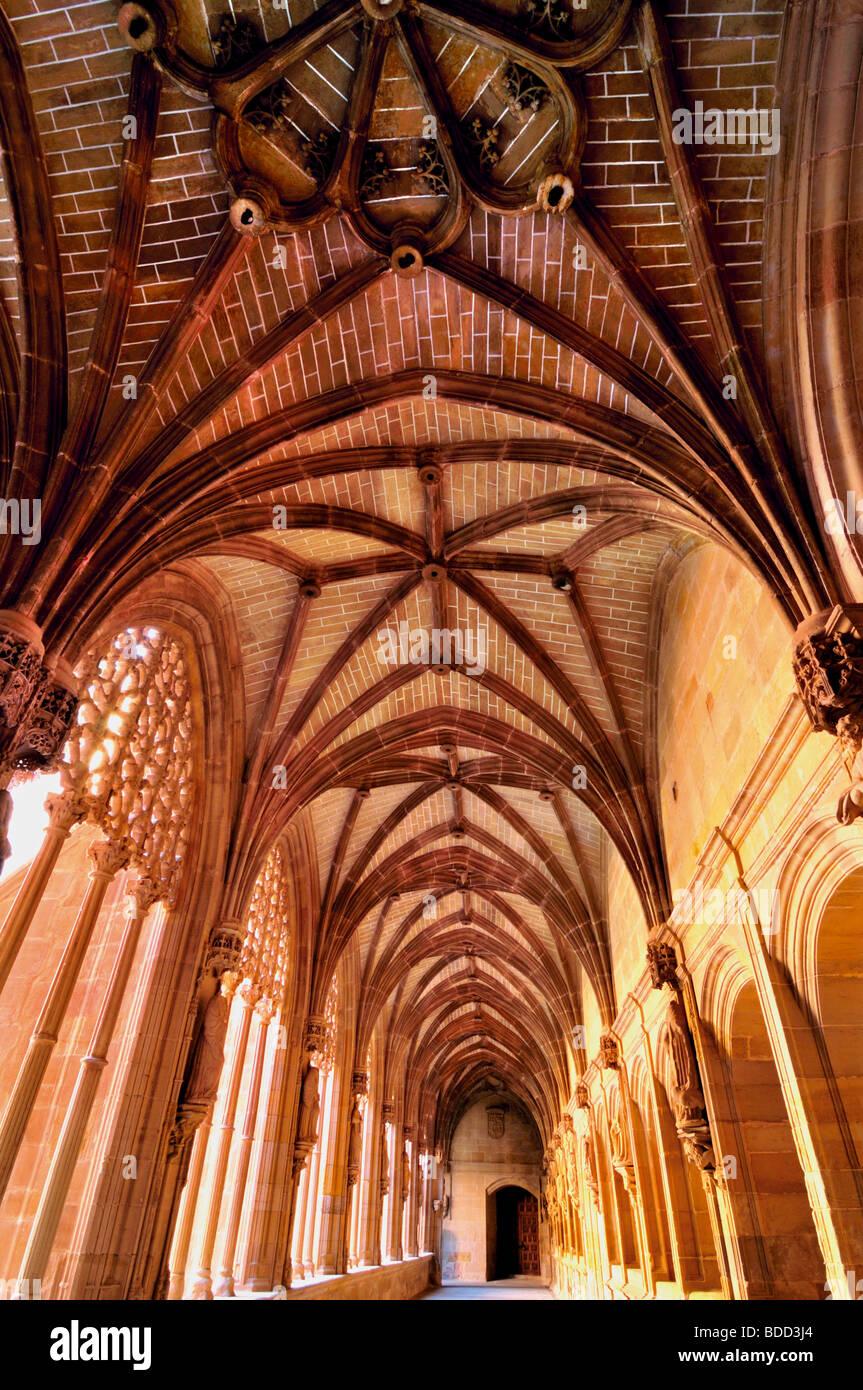 Spain, St. James Way: Cloister of the monastery Santa Maria Real in Nájera - Stock Image