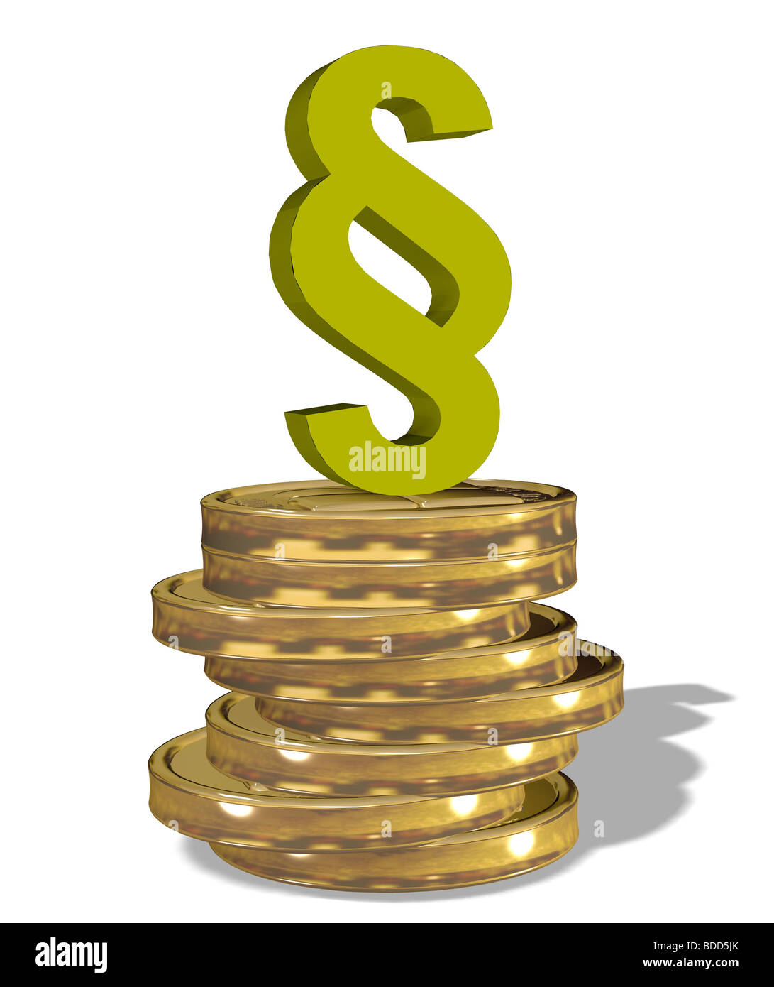 paragraph sign on a stack of coins - Stock Image