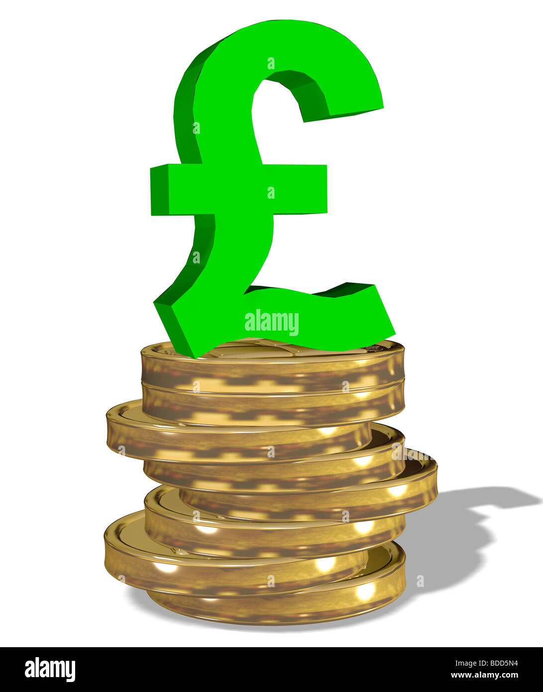 pound sign on a stack of coins - Stock Image