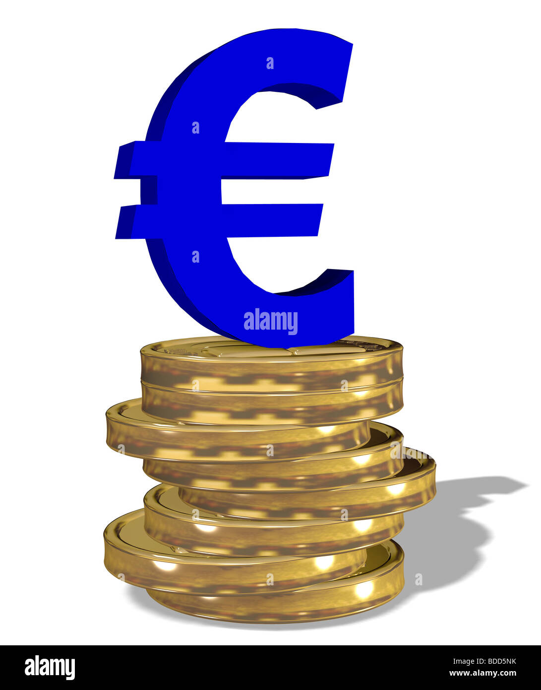 Euro sign on a stack of coins - Stock Image