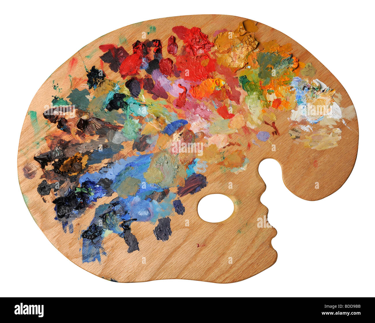 Ergonomic artist's palette isolated over a white background - Stock Image