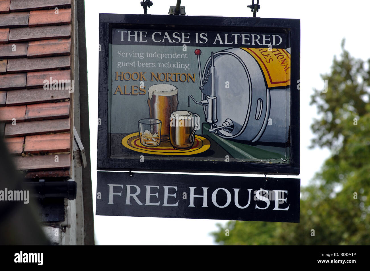 The Case is Altered pub sign, Hatton, Warwickshire, England, UK - Stock Image