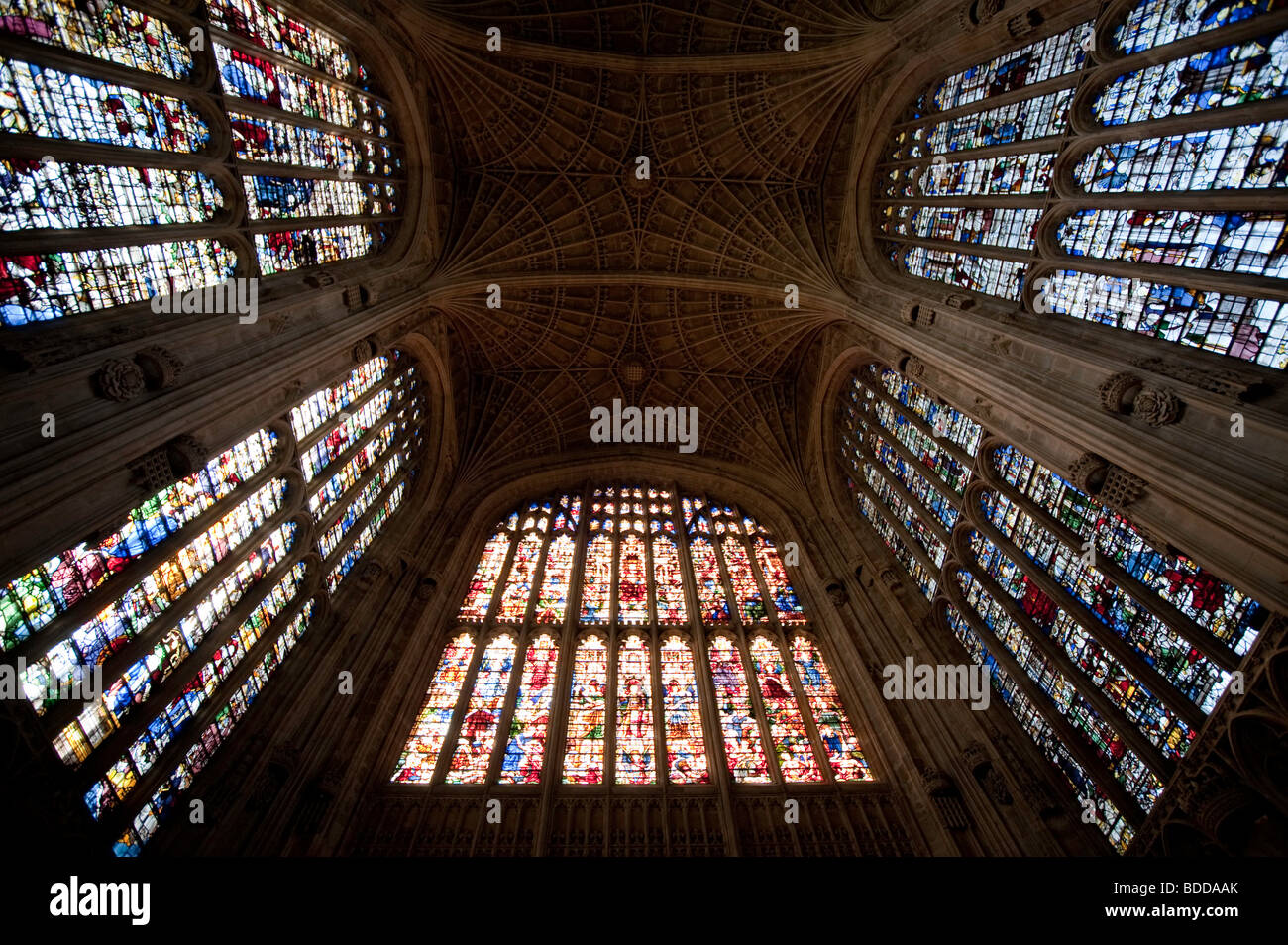 Stained Glass Windows, Trinity College Chapel, Cambridge - Stock Image