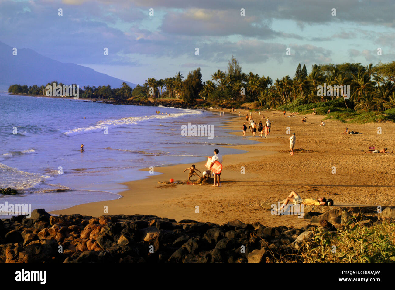 Relaxing on Ulua Beach on Maui Stock Photo