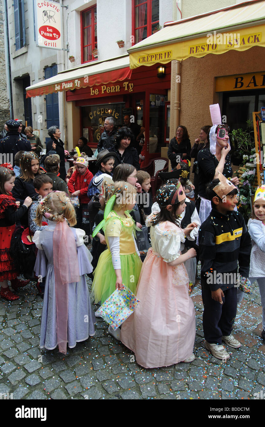 A parade of school children in Paimpol in Brittany Stock Photo