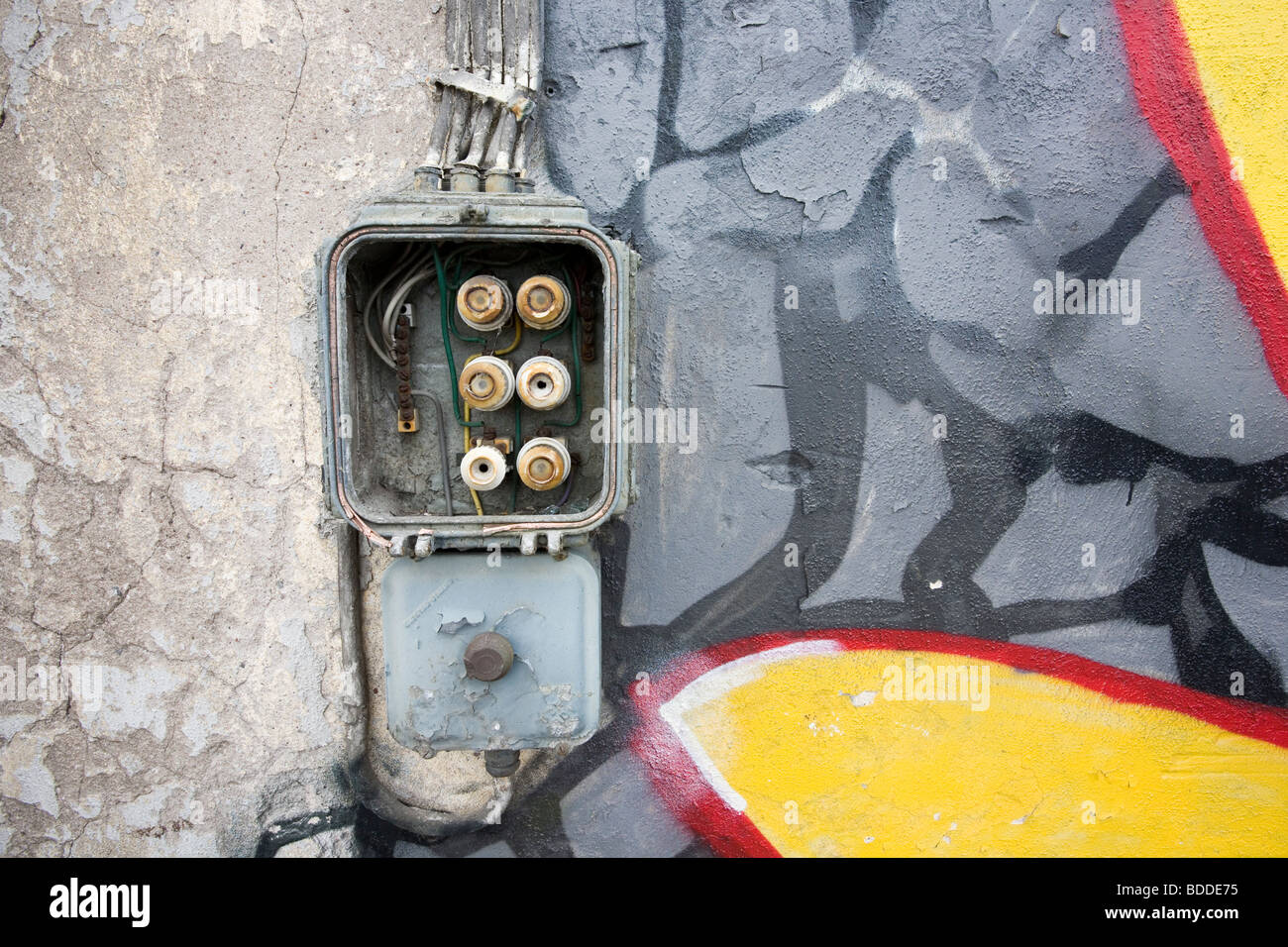 Old Electrical Fuse Box Stock Photos Safe On Abandoned Warehouse Wall Image