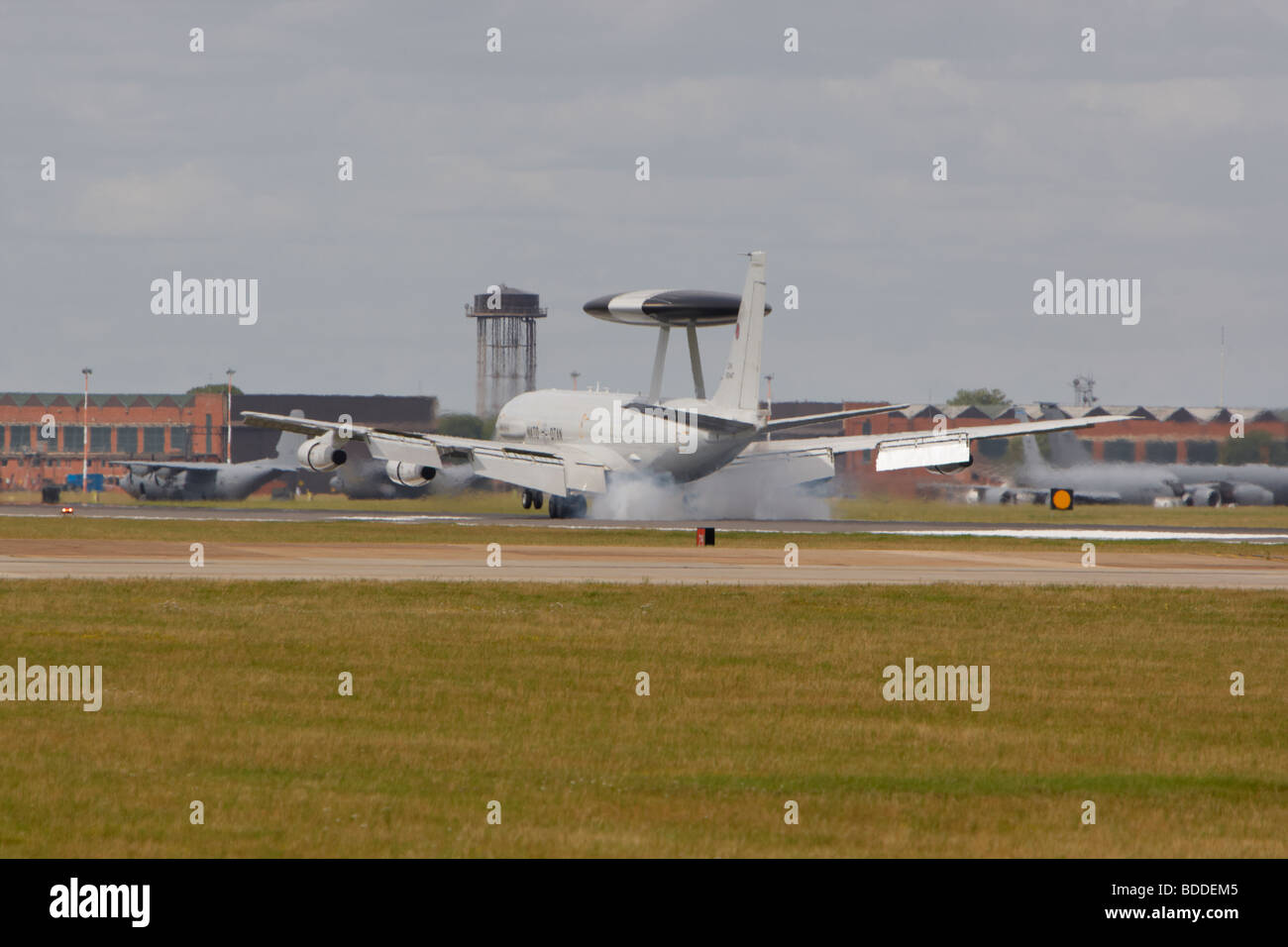 Boeing E-3A Sentry touching down at RAF Mildenhall, Suffolk, England, United Kingdom Stock Photo