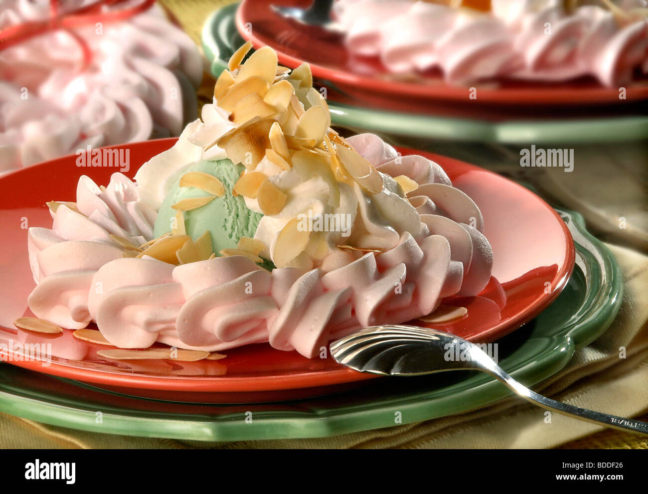 Peach Dessert with Ice Cream - Stock Image