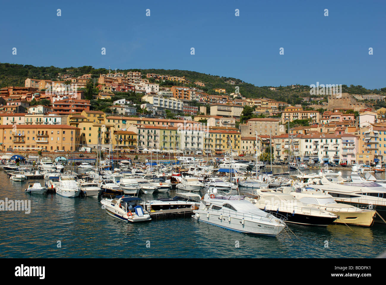 The yacht on Porto Santo Stefano - Stock Image