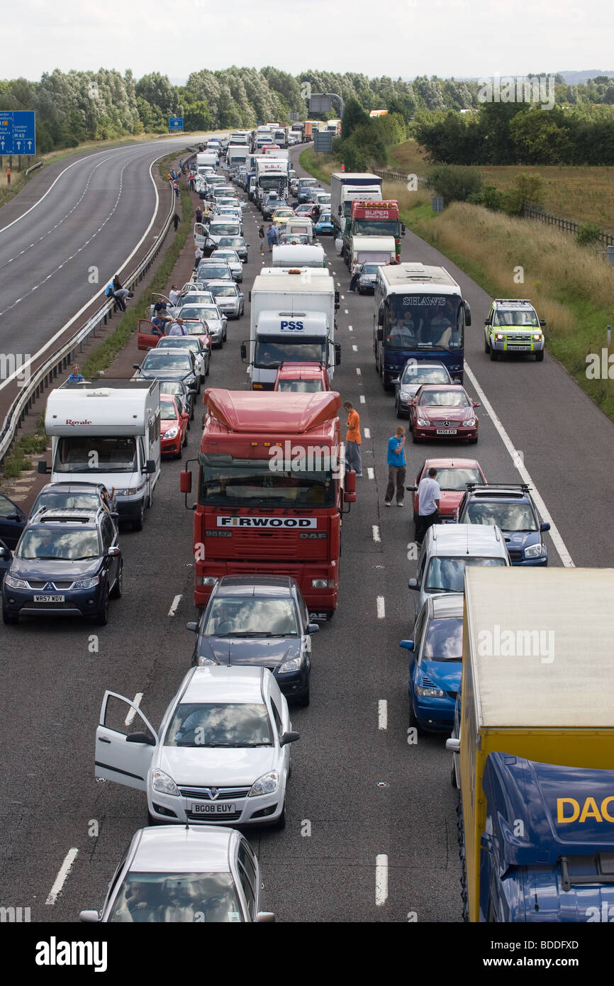 Road Traffic Accident On The M40 Stock Photo