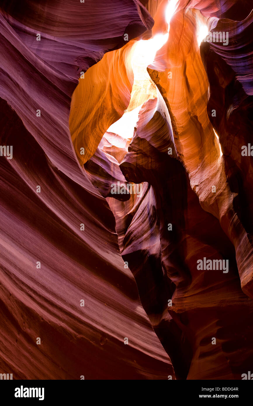 Beautiful spiritual glowing light in upper Antelope Canyon tourist vacation attraction Southwest US American Indian Stock Photo