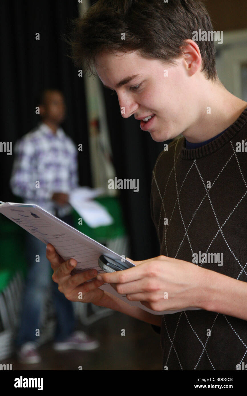 Students receive A-Level exam results - Stock Image