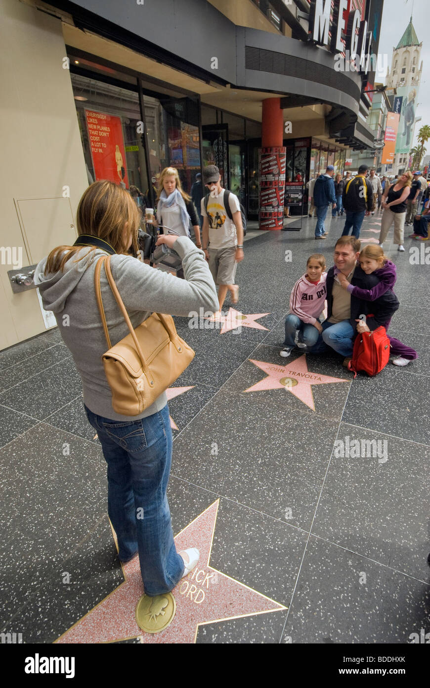 Tourists at Walk of Fame at Hollywood Boulevard, Hollywood, California, USA - Stock Image