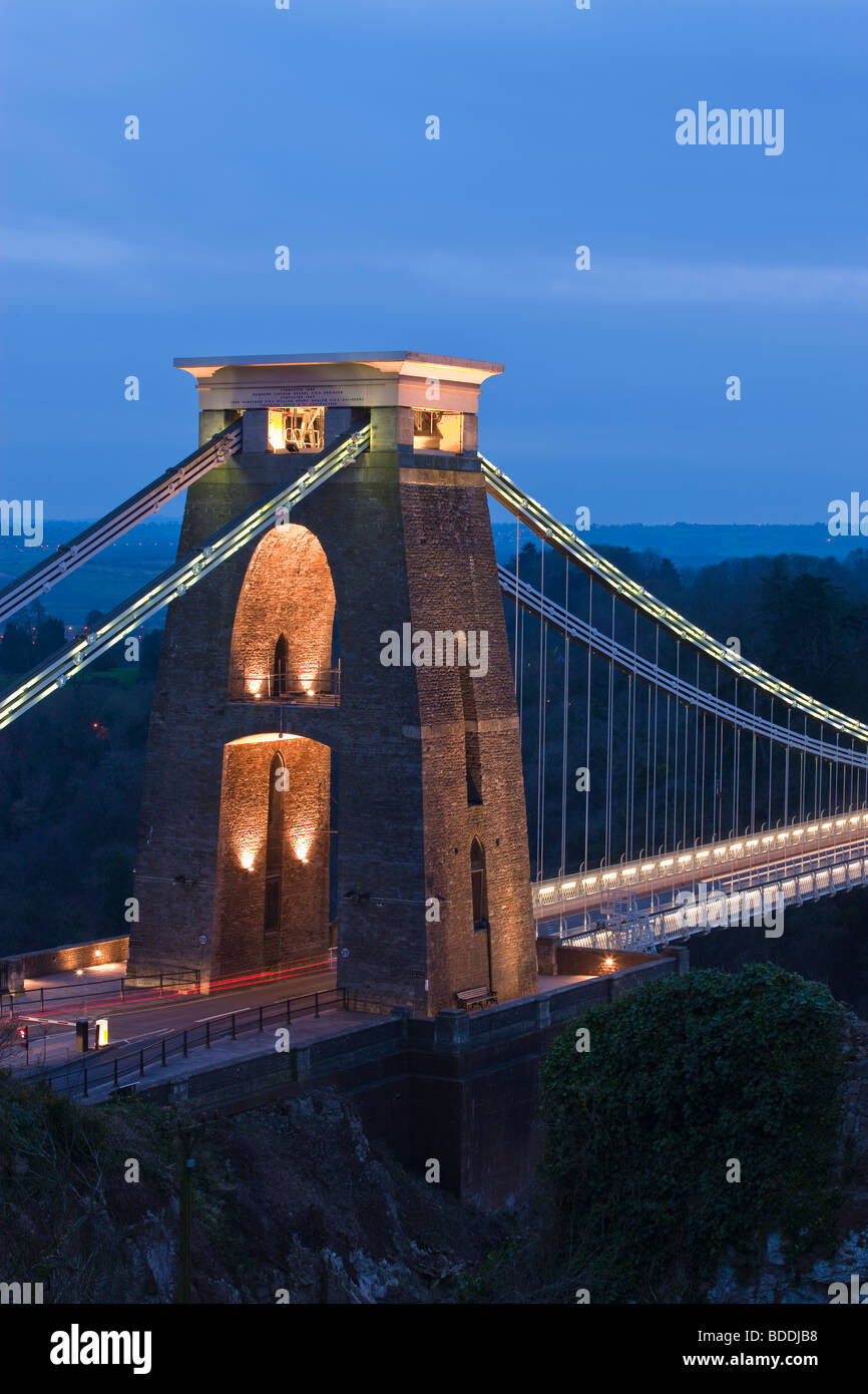 Clifton Suspension Bridge Clifton Bristol Avon England at twilight - Stock Image
