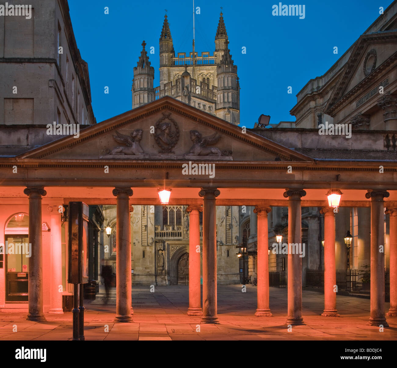 Bath Abbey Bath Avon England at twilight - Stock Image