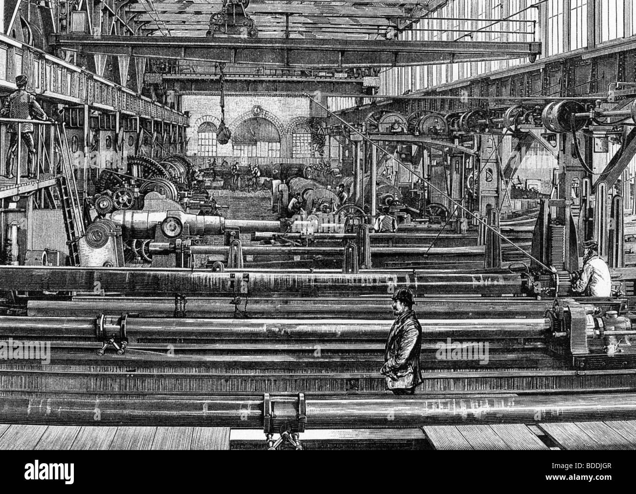 ARMAMENTS - Manufacturing artillery at William Armstrongs Elswick Works in Newcastle in 1887 - Stock Image