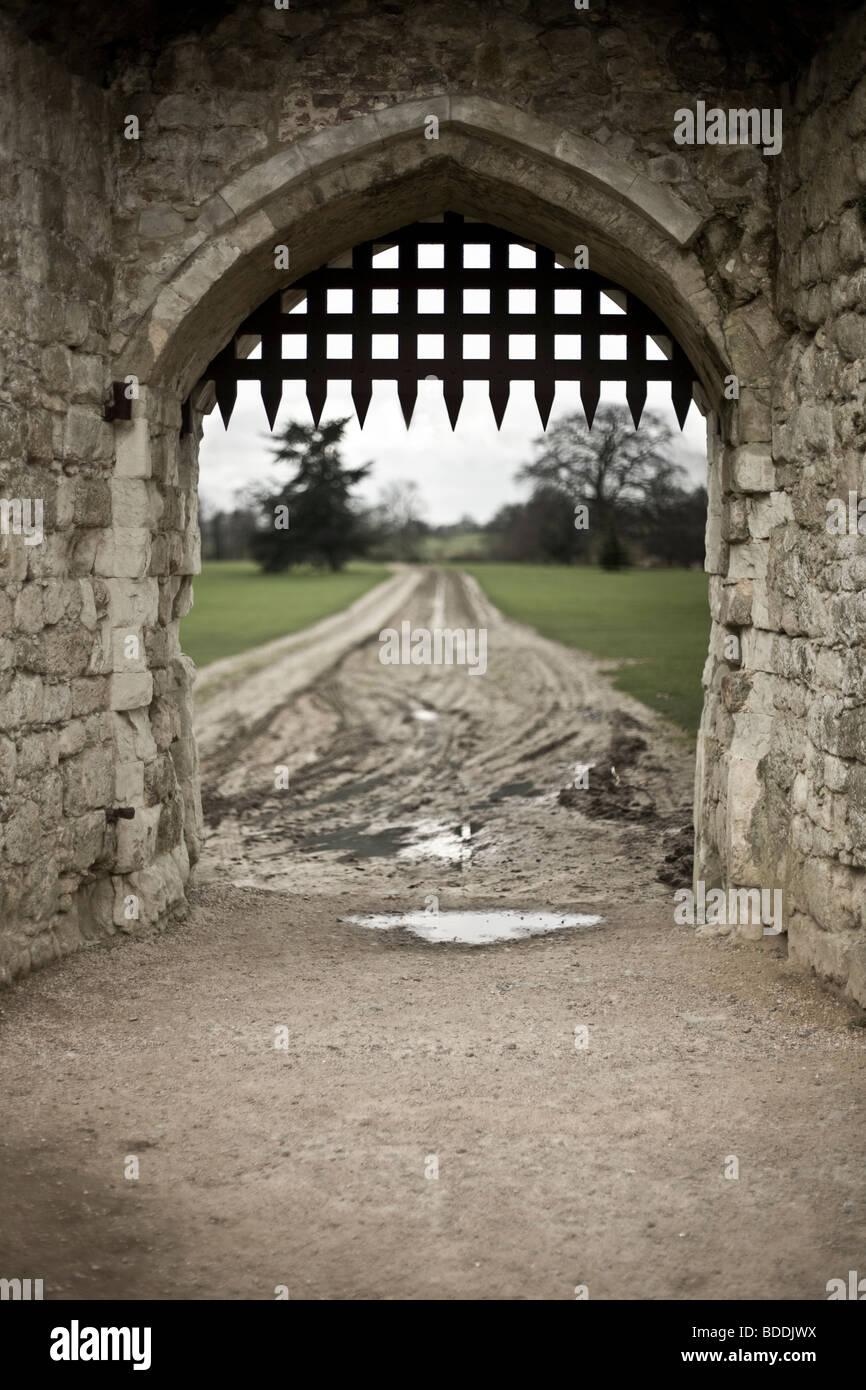 Portcullis at castle entrance - Stock Image