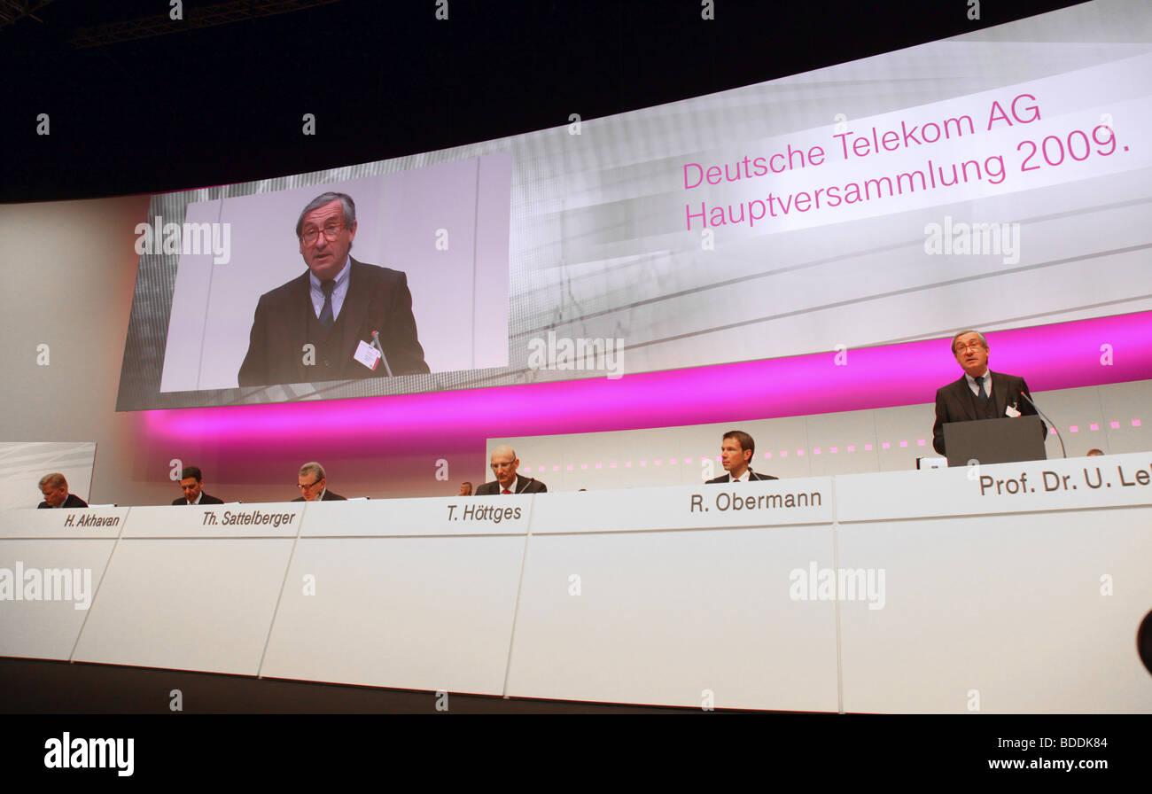 Deutsche Telekom , annual shareholders meeting, Cologne. Stock Photo