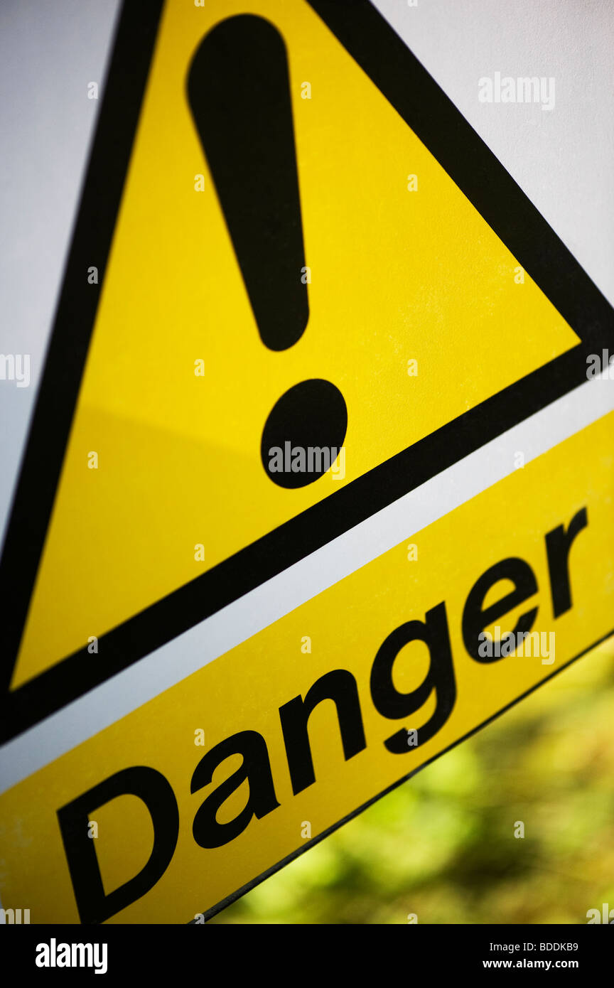 Yellow and Black Danger sign - Stock Image