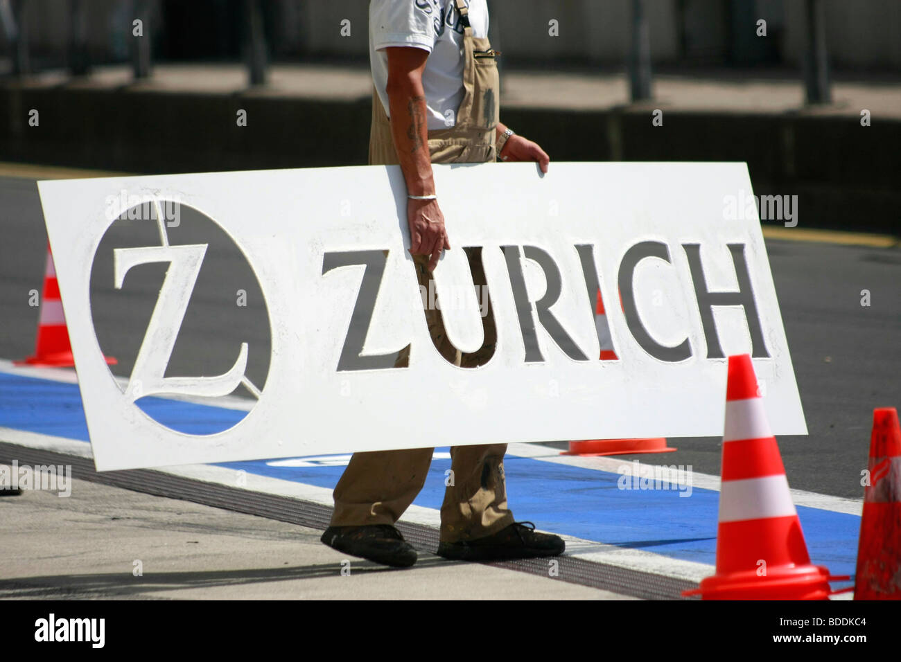 Advertisement of Zurich insurance company, Nuerburgring, Germany. - Stock Image