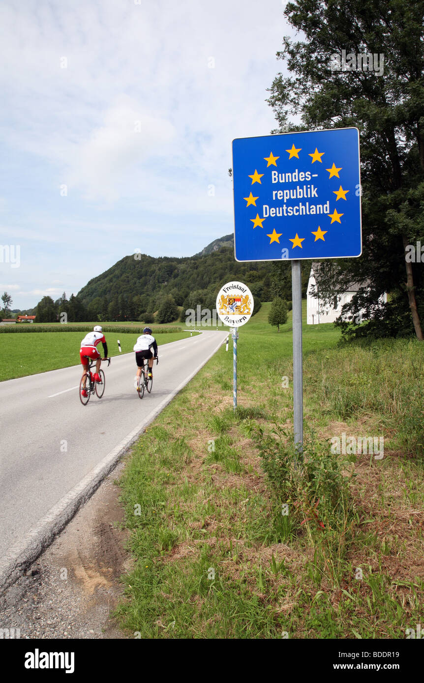 The border between Austria and Germany, South of Rosenheim. - Stock Image