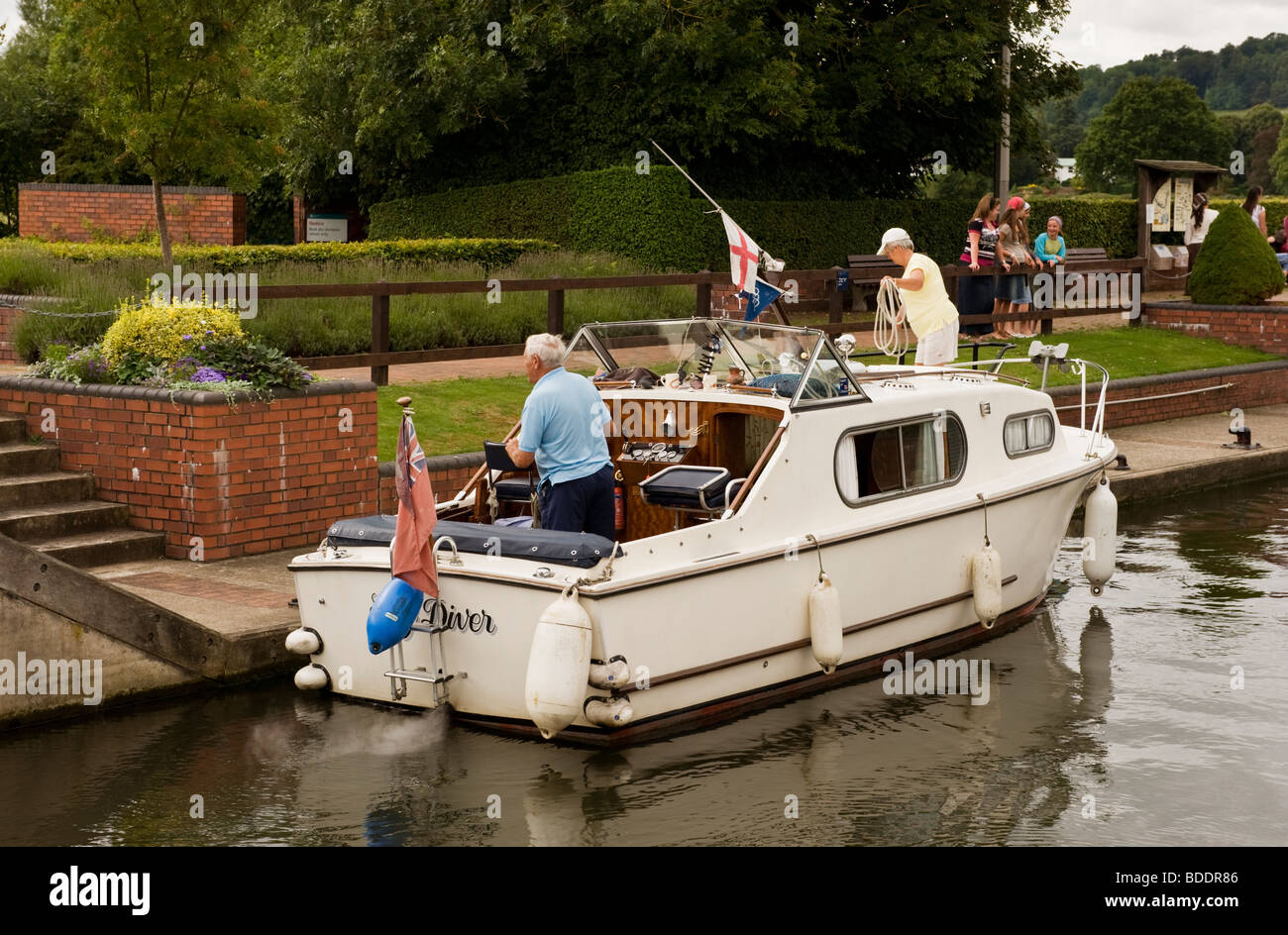 Pleasure craft moored at Hambleden Lock, Mill End, Hambleden, Buckinghamshire UK - Stock Image