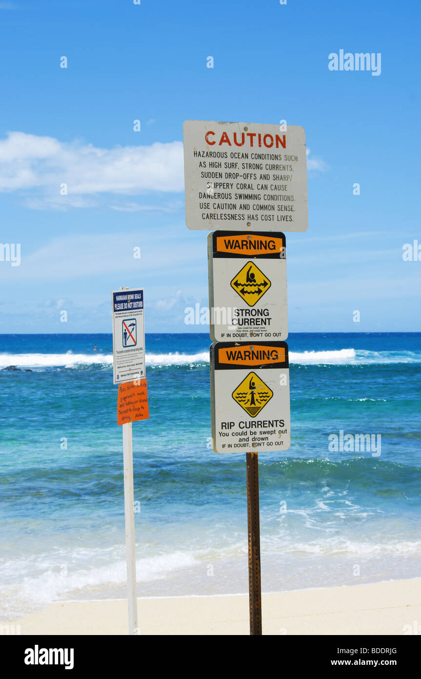Rip Current Warning Sign Stock Photos & Rip Current Warning