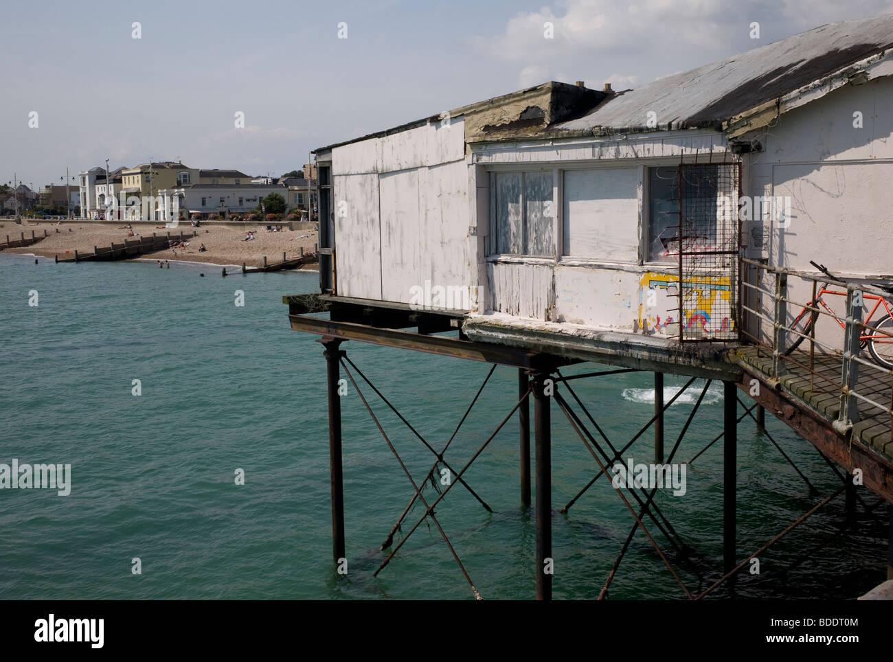 Shabby pier at Bognor Regis, UK - Stock Image
