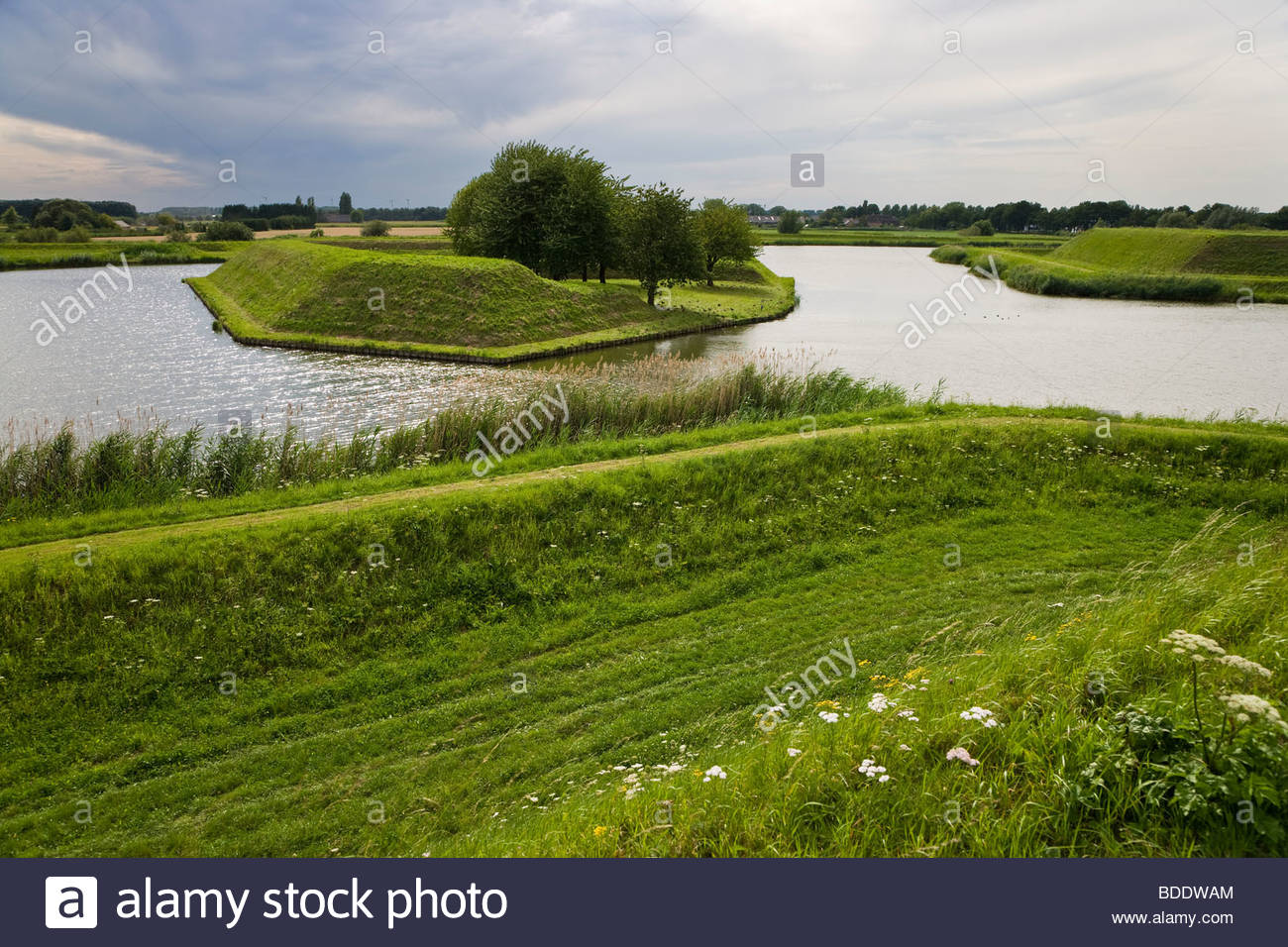 landscape fortification historical star fort moat wall fortress protection safety defense tourism Heusden Netherlands - Stock Image