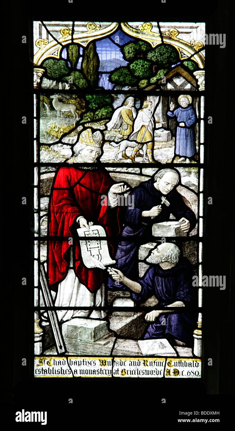 St Chad baptizing St Wilfrid and establishing a monastery at Brixworth All Saint's Church Brixworth Northamptonshire - Stock Image