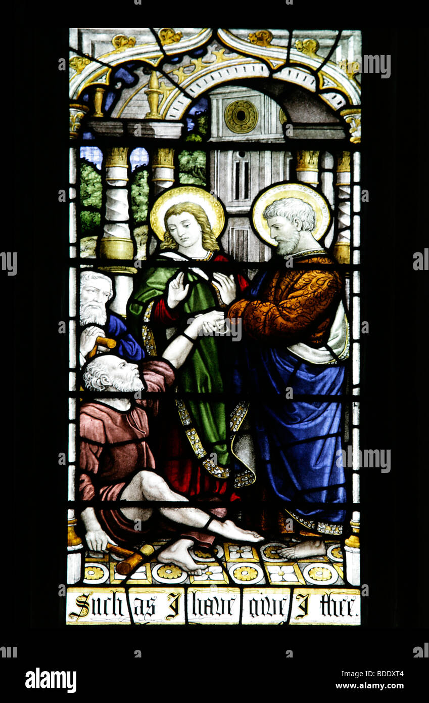 Such as I have, give I thee Acts 3.6 All Saint's Church Brixworth Northamptonshire England St Peter and St John - Stock Image