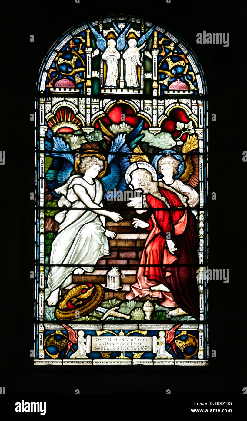 The Three Maries or Marys finding the tomb of Jesus Christ empty All Saint's Church Brixworth Northamptonshire - Stock Image