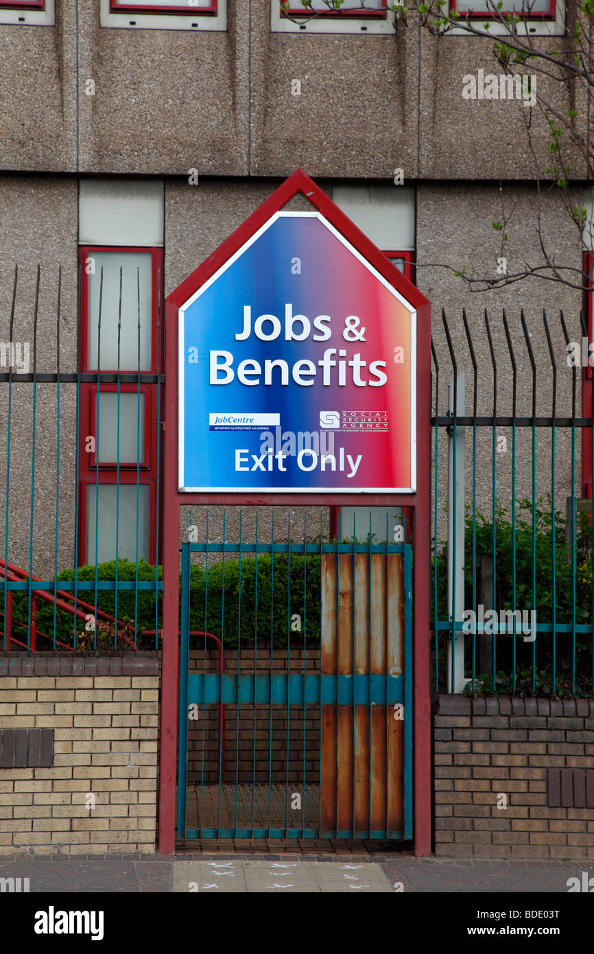 IRELAND, North, Belfast, West, Falls Road, Exit gate of the unemployment office. - Stock Image