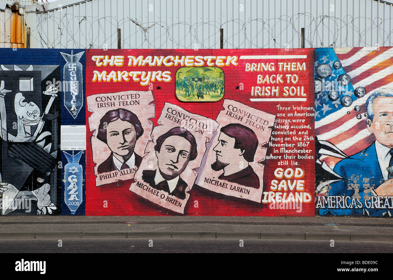 IRELAND, North, Belfast, West, Falls Road, Political murals painted on walls of the Lower Falls Road Stock Photo
