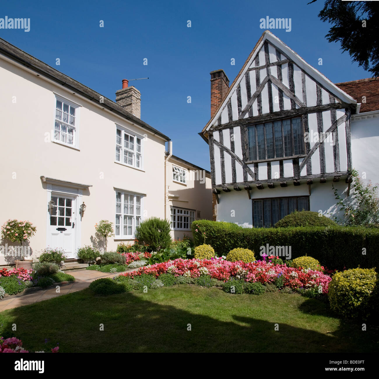 A timber framed house and its garden in Lavenham, Suffolk, England - Stock Image