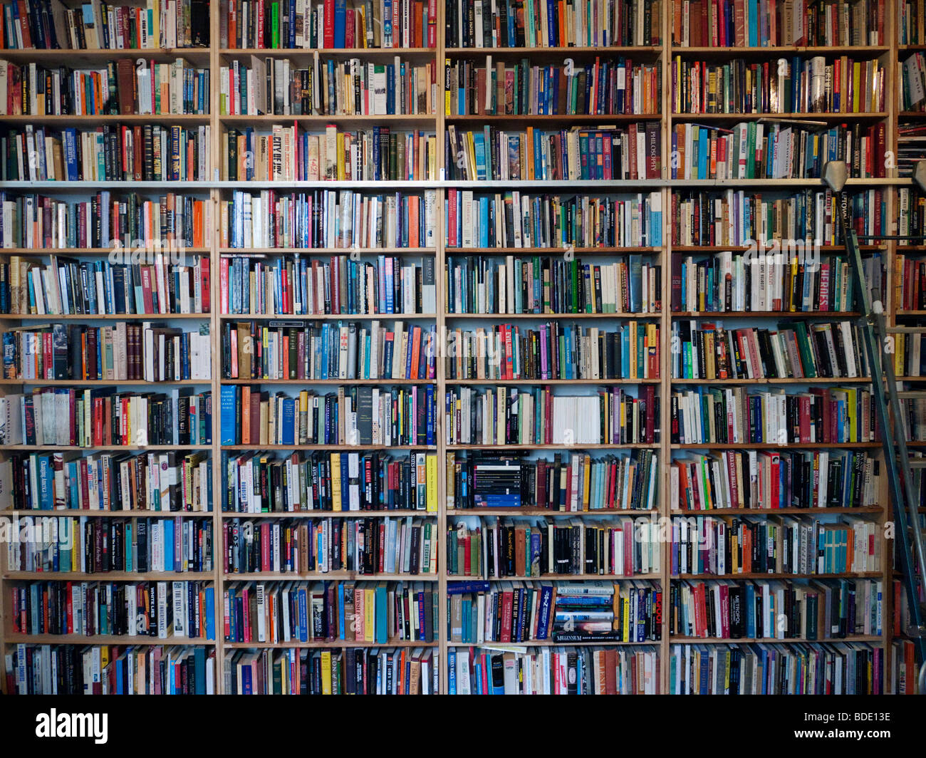 Many books on shelves inside secondhand bookshop in Prenzlauer Berg Berlin Germany - Stock Image