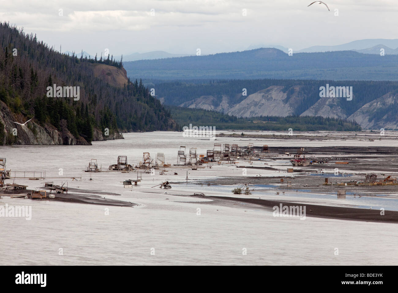 Fish Wheels on Copper River in Alaska - Stock Image