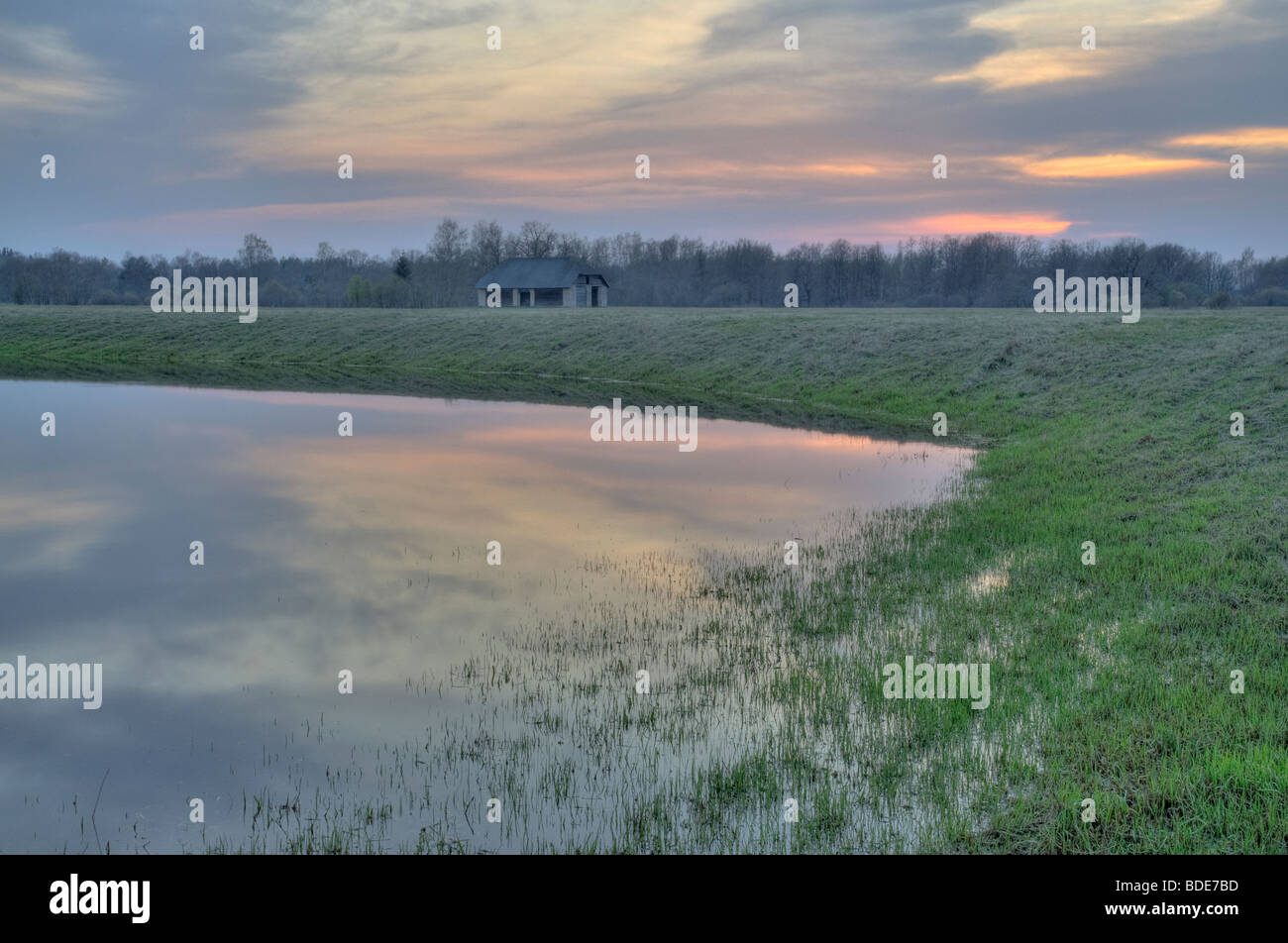 Edge of an oxbow lake in North Gauja protected landscape area - Stock Image