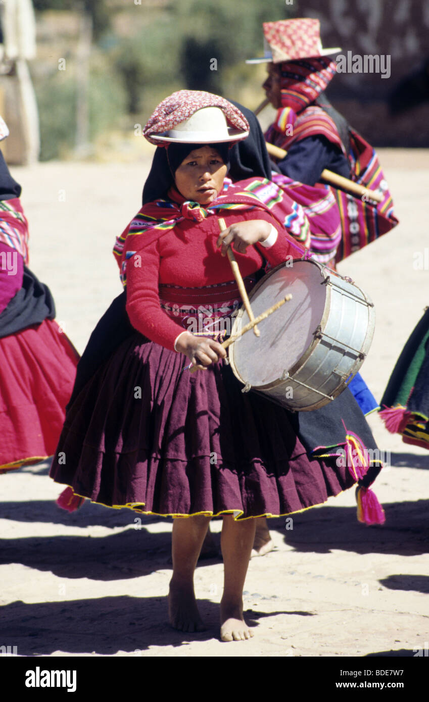 Musicians of Taquile Island ,Lake Titicaca,Peru dress in their colorful costumes during the Illampu festival - Stock Image