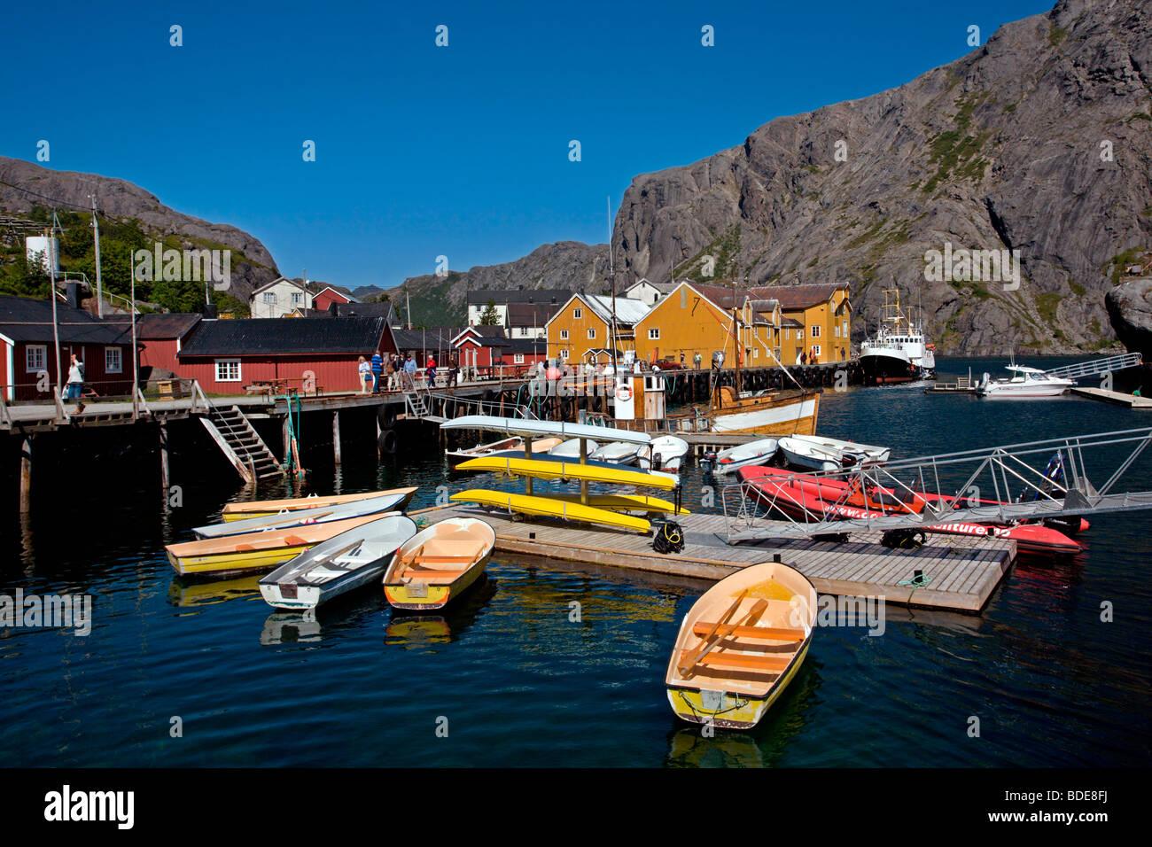 Flakstad Island: Nusfjord Fishing Village Stock Photo