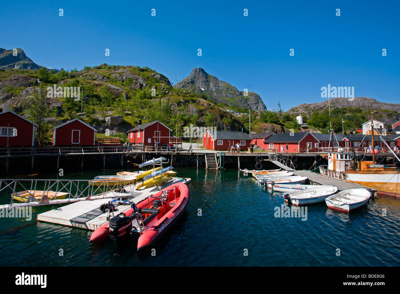 Flakstad Island: Nusfjord Fishing Village Stock Photo