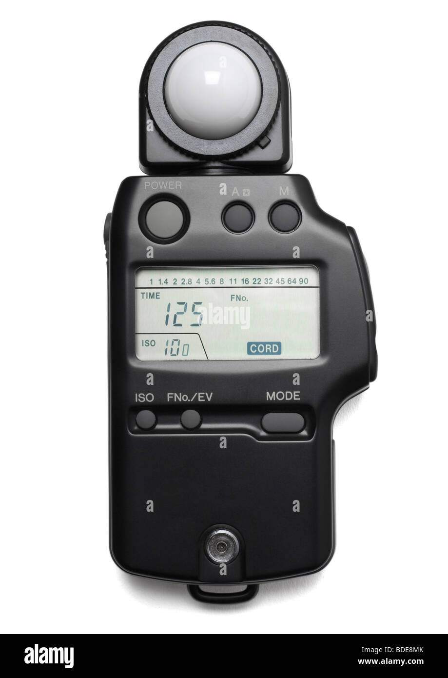 Photographic light meter on white background - Stock Image