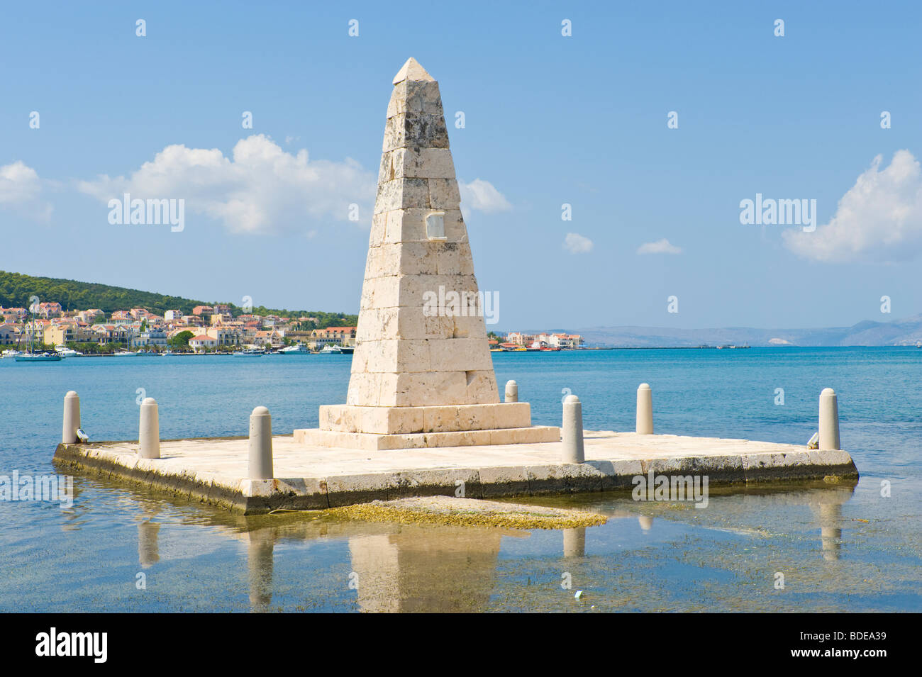 Monument for the British administration in Argostoli Bay on the Greek Mediterranean island of Kefalonia Greece GR - Stock Image