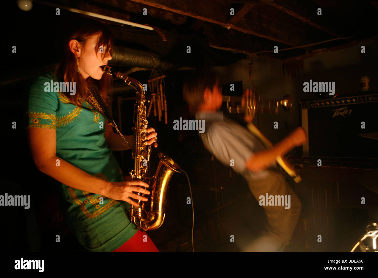 Clare Hubbard and Justin Rhody perform as the free jazz punk band DBH - Stock Image