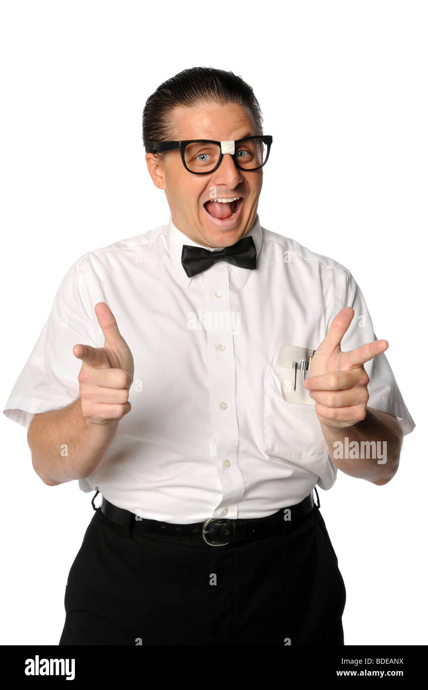 Nerd with fingers pointing isolated over white background - Stock Image