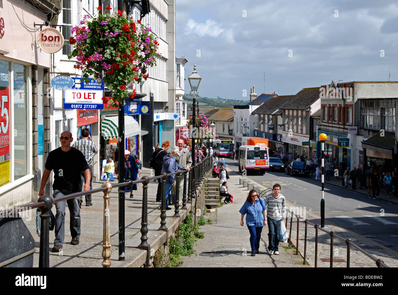 people shopping in market jew street, penzance cornwall, uk Stock Photo